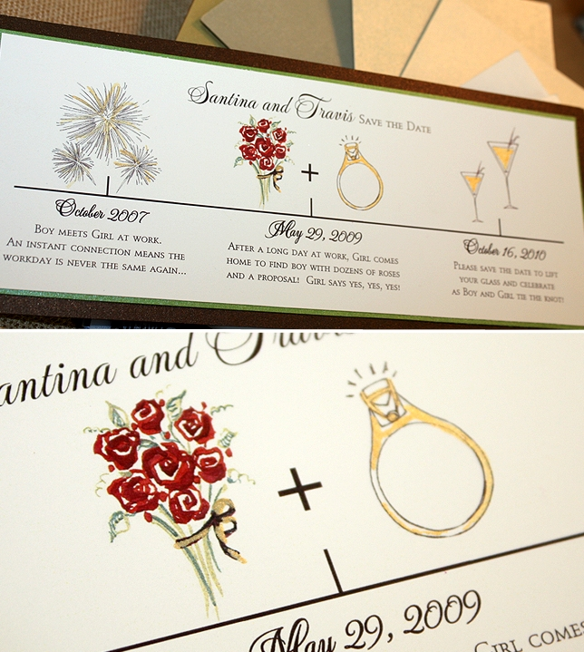 Custom Timeline Save The Date, Custom Save The Date, Brown