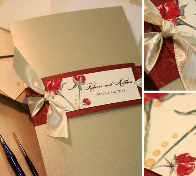 red and gold, handmade red peony wedding invitationmomental designs, Wedding invitations