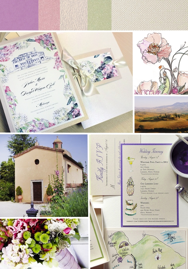 Pink, Purple and Green Wildflower Wedding Invitation ...
