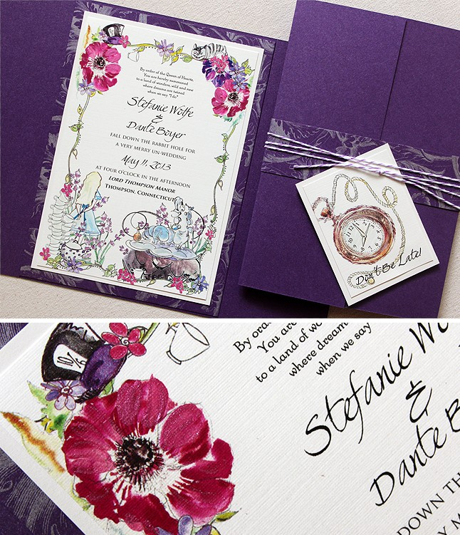 Watercolor Alice In Wonderland Wedding Invitationsmomental Designs
