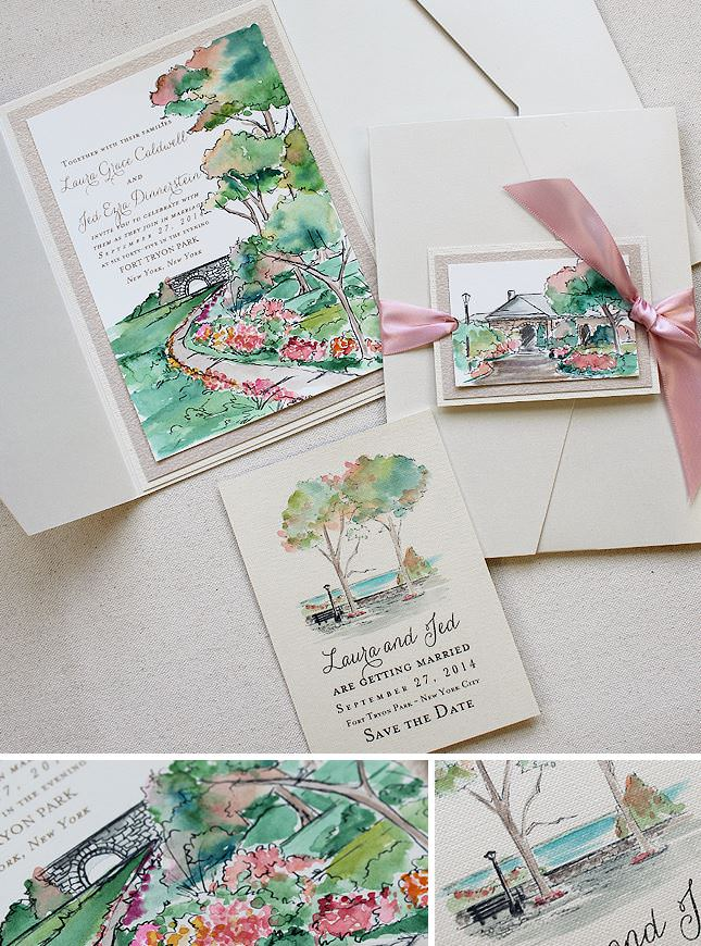 Watercolor Landscape Wedding Invitations
