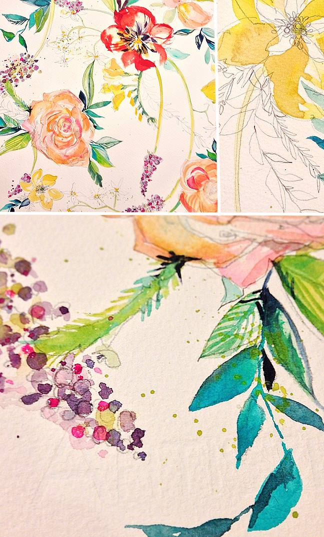 Sketchy and Bold Watercolor Floral Pattern