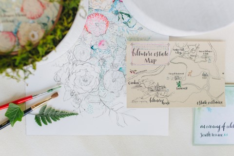 Floral-Watercolor-Wedding-Map