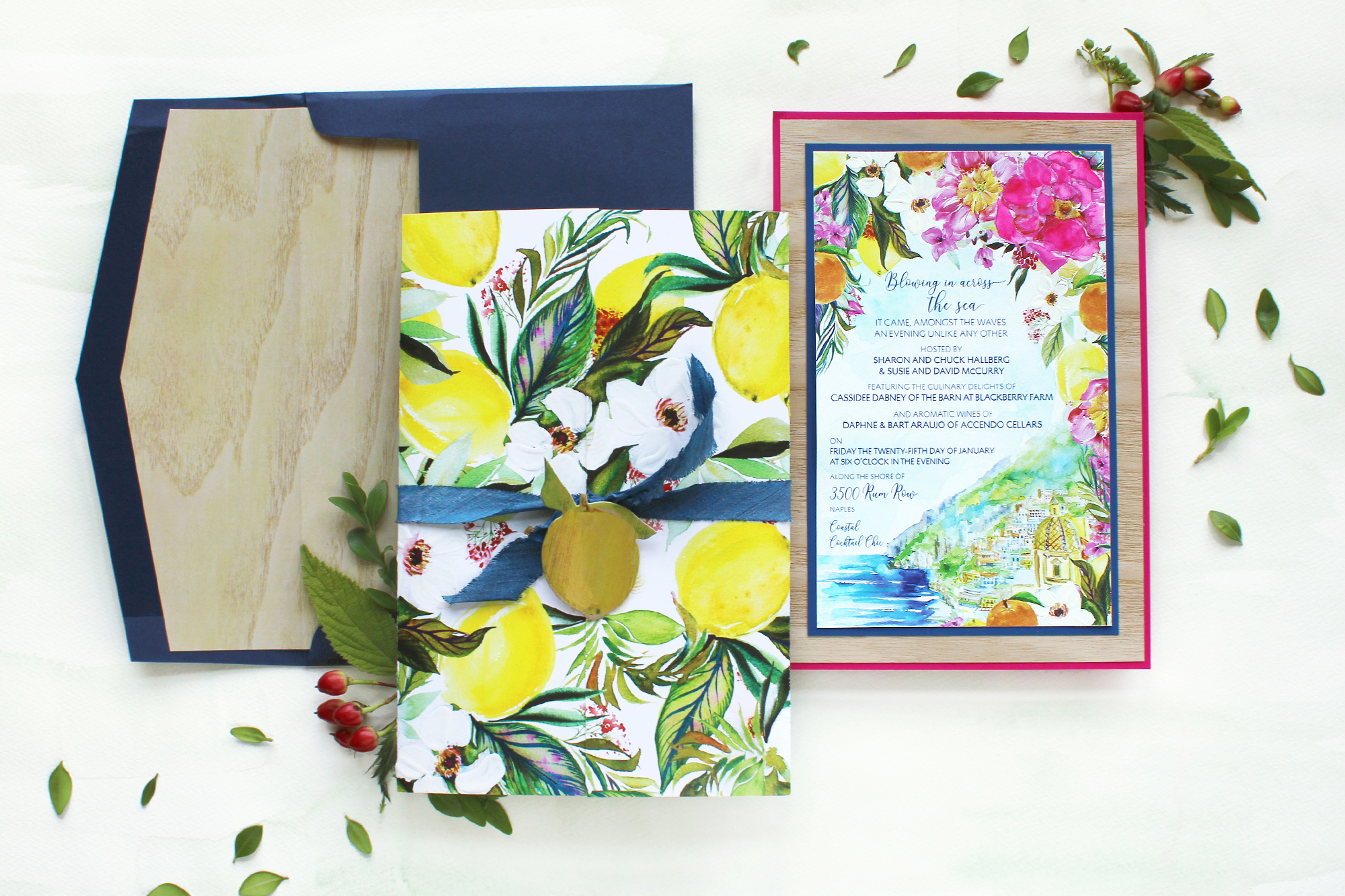 Bright Floral and Lemon Italian Inspired Corporate Event Stationery