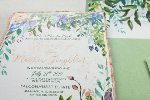 English Garden Watercolor and Rose Gold Foil Botanical Wedding Stationery