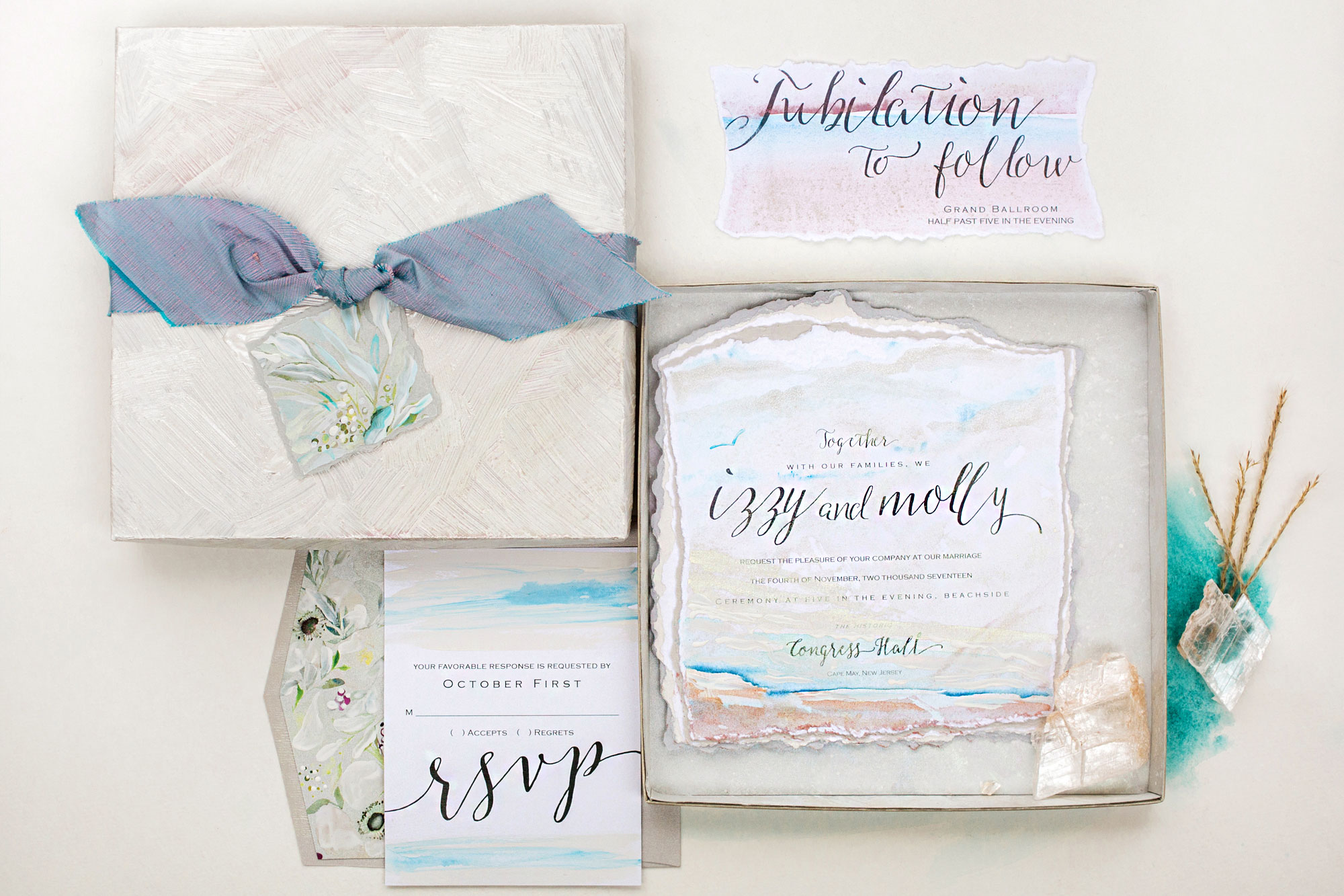 Classic Ocean Inspired Wedding Invitations-Momental DesignsMomental ...
