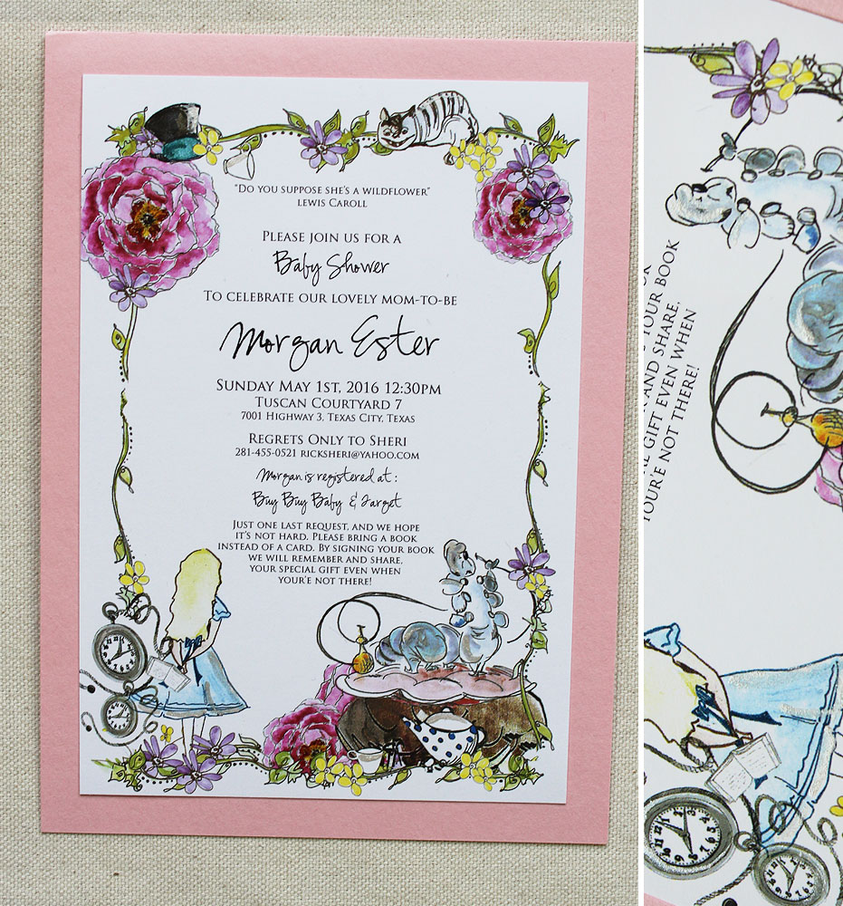 alice in wonderland baby shower invitationsmomental designs baby