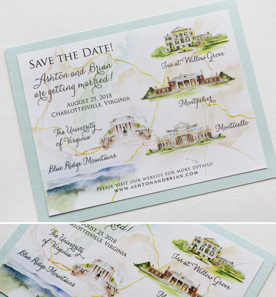 Ashton Virginia Map.Ashton L Watercolor Map Save The Datemomental Designs