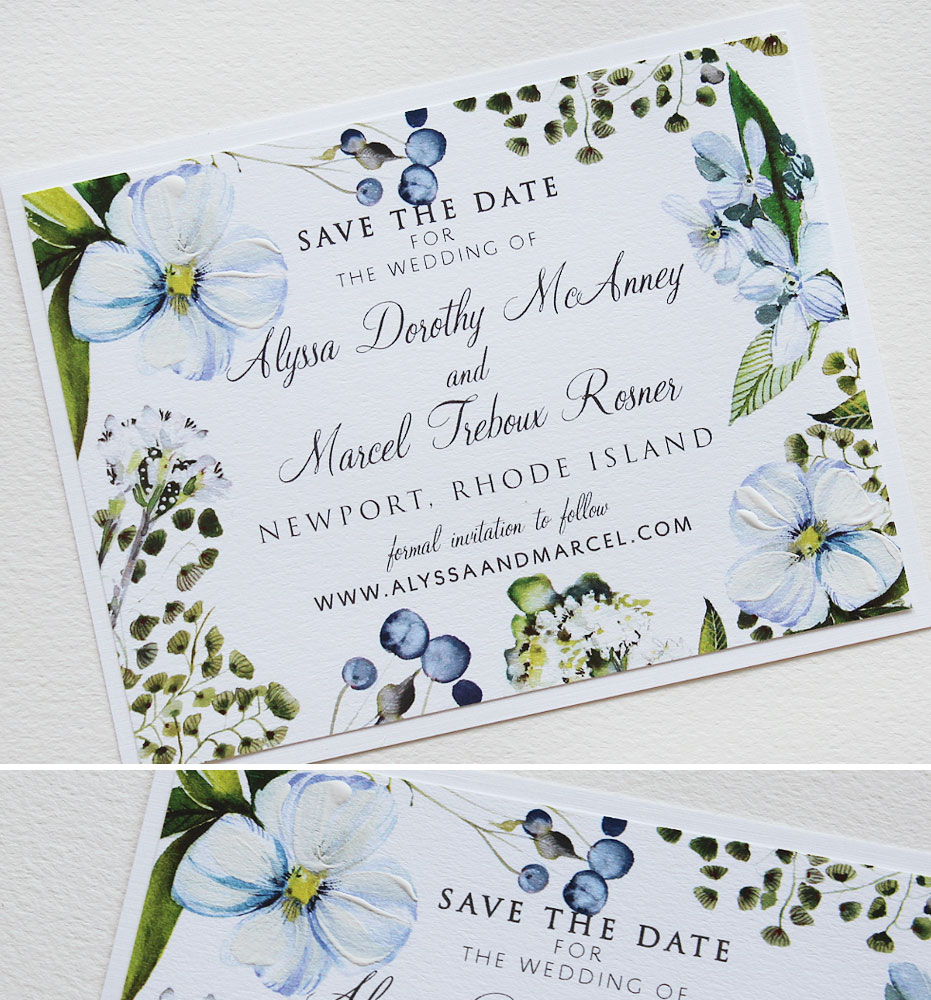 Blue Watercolor Floral Wedding Save the Date