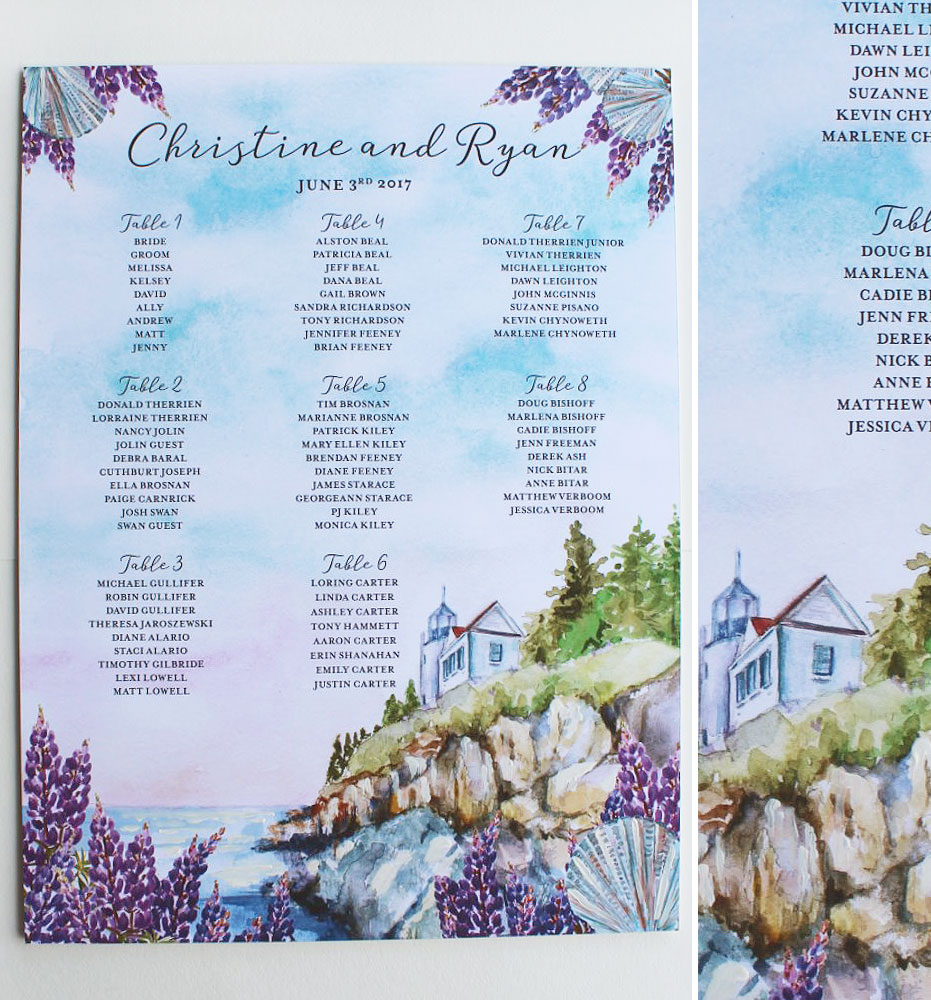 Maine Wedding Seating Chart