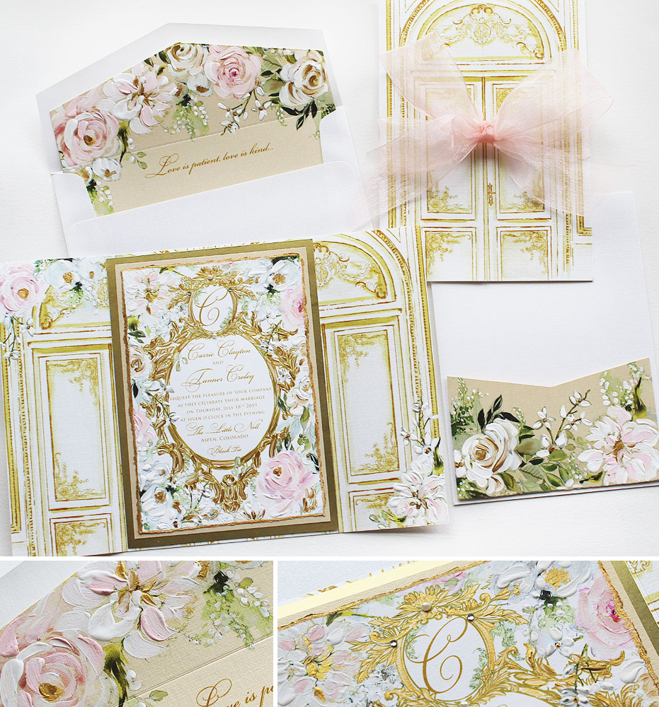 Hand Painted Gold Frame Wedding Invitations