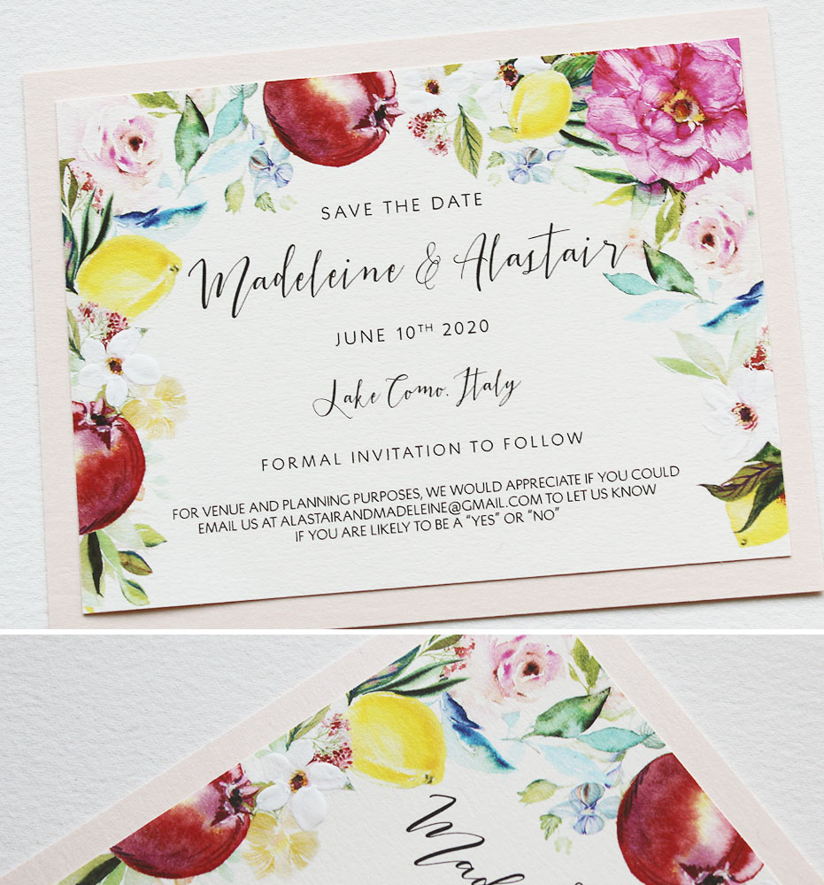 Floral and Lemon Wedding Save the Dates