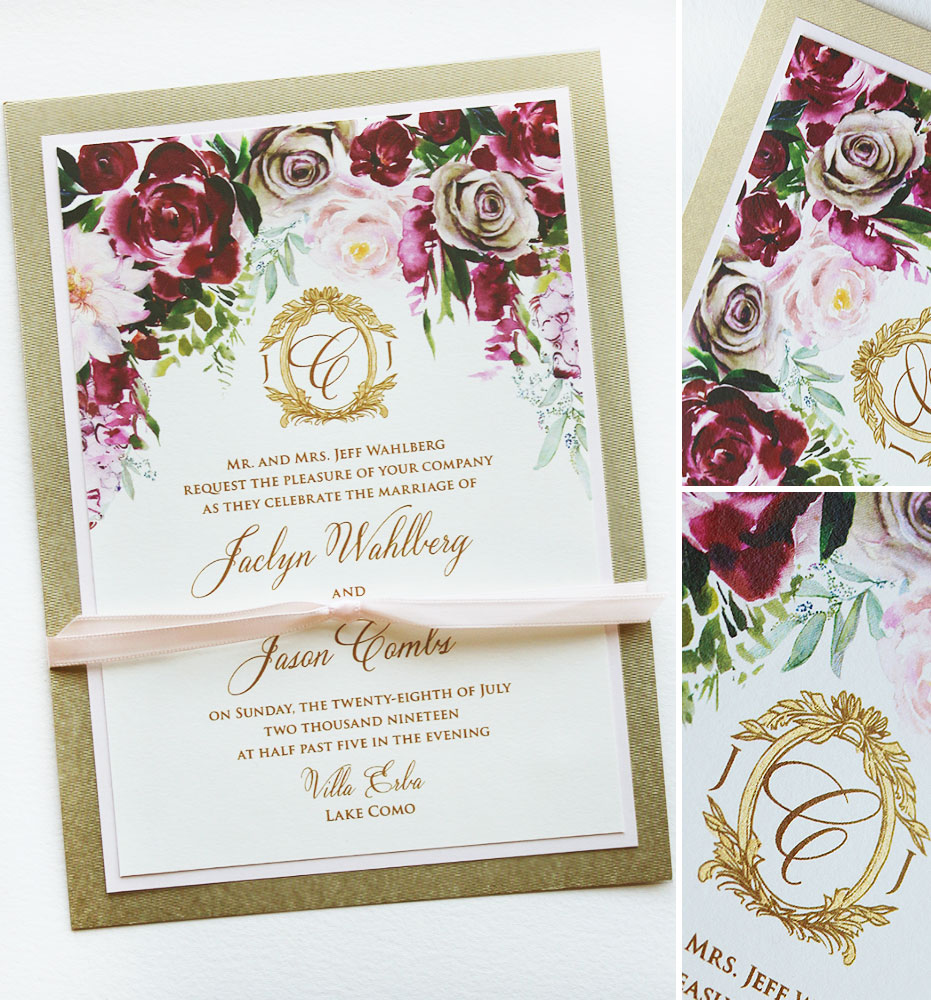 Watercolor Rose Lake Como Wedding Invitation