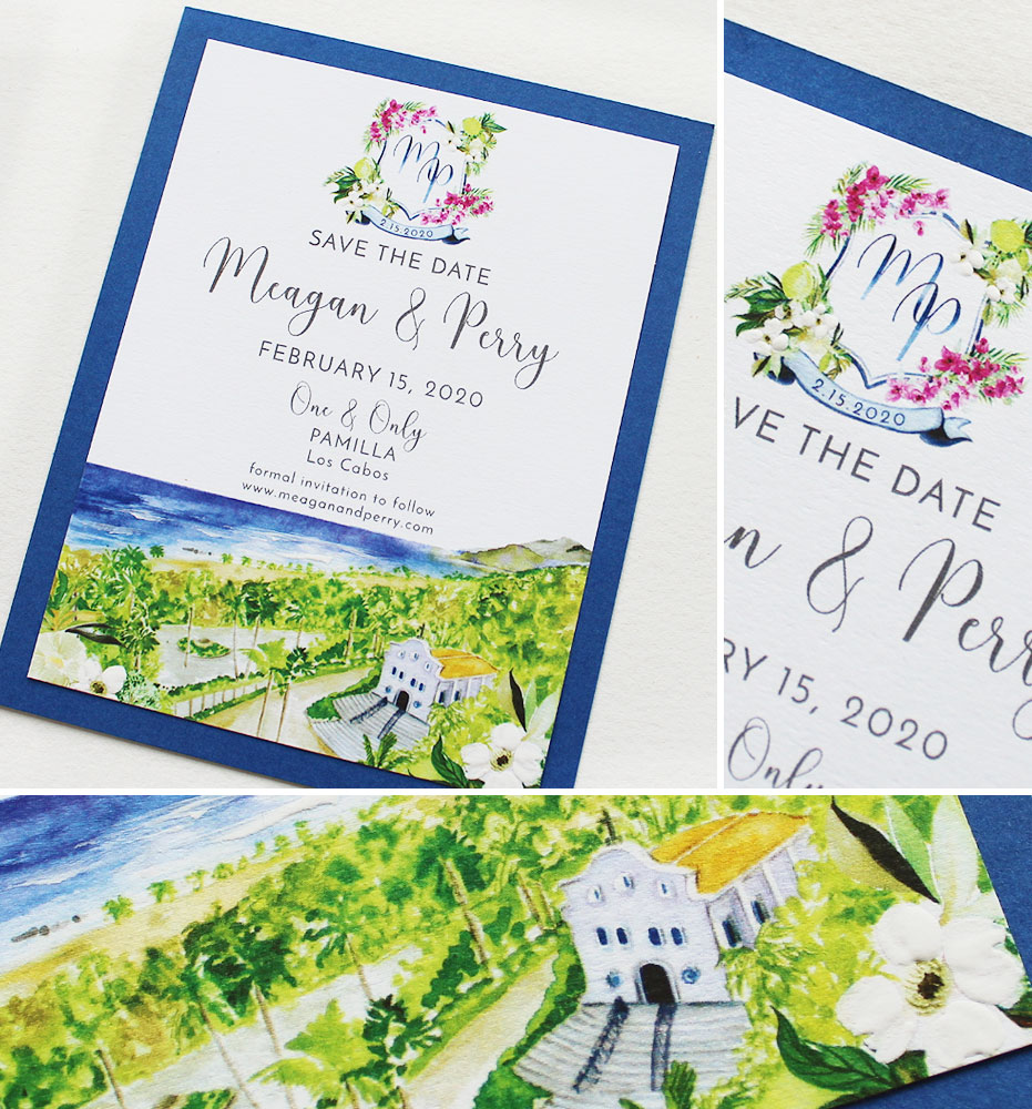 Watercolor Crest Save the Date