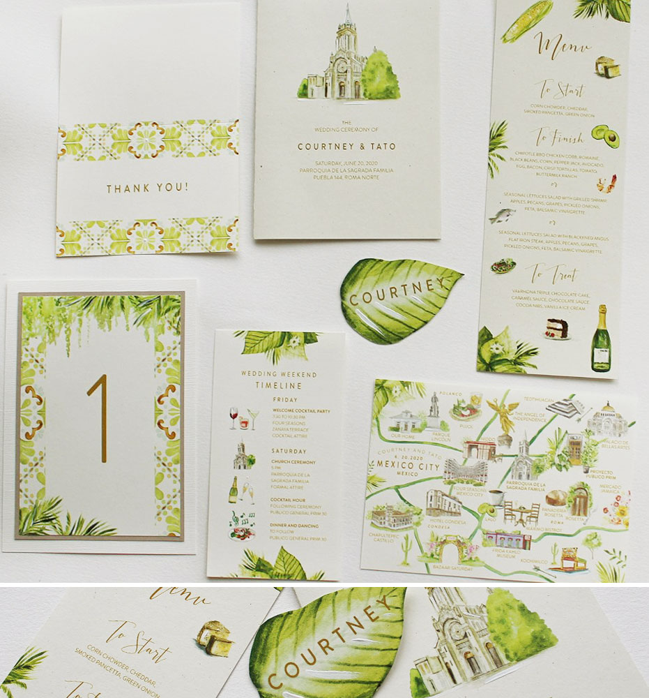 Mexico Watercolor Tile Wedding Day Accessories