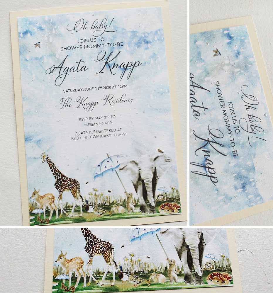 Watercolor Animal Baby Shower Invitations