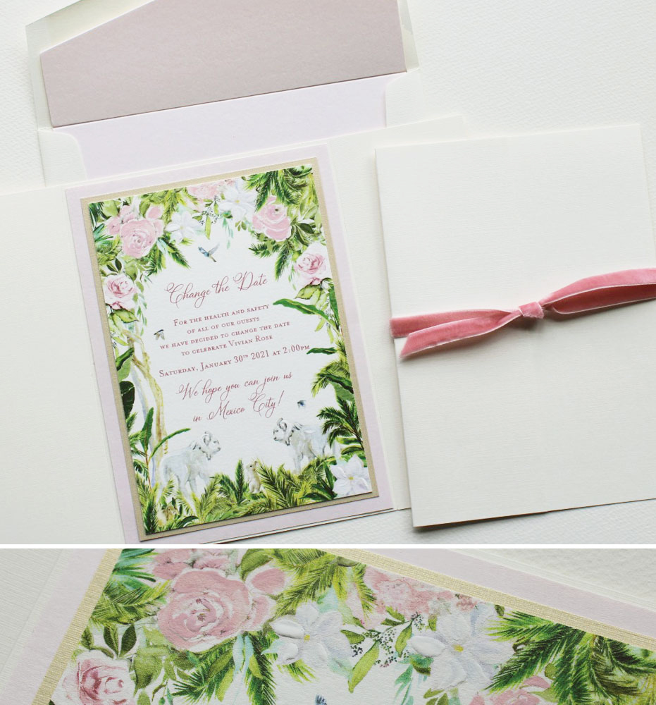 Hand Painted Change the Date Stationery