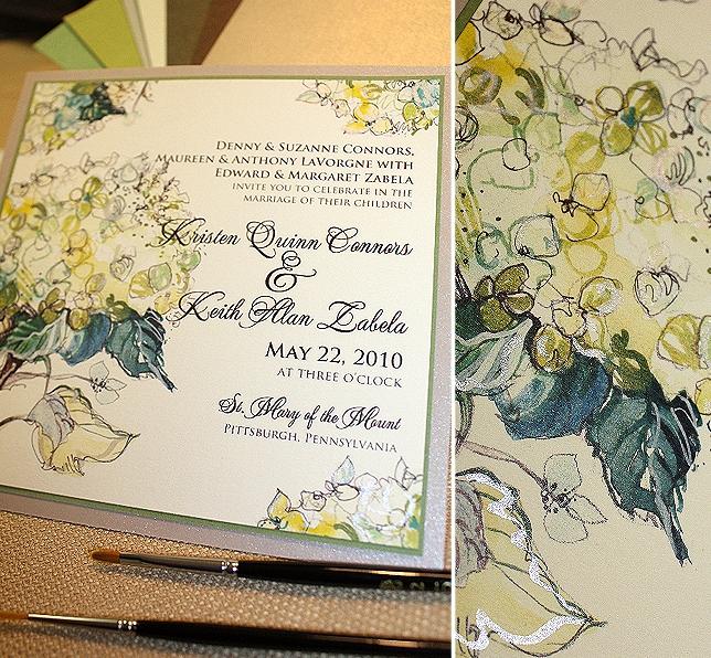 Green Hydrangea Custom Wedding Invitation