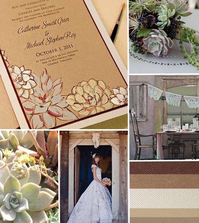 Cream And Brown Succulent Wedding Invitation