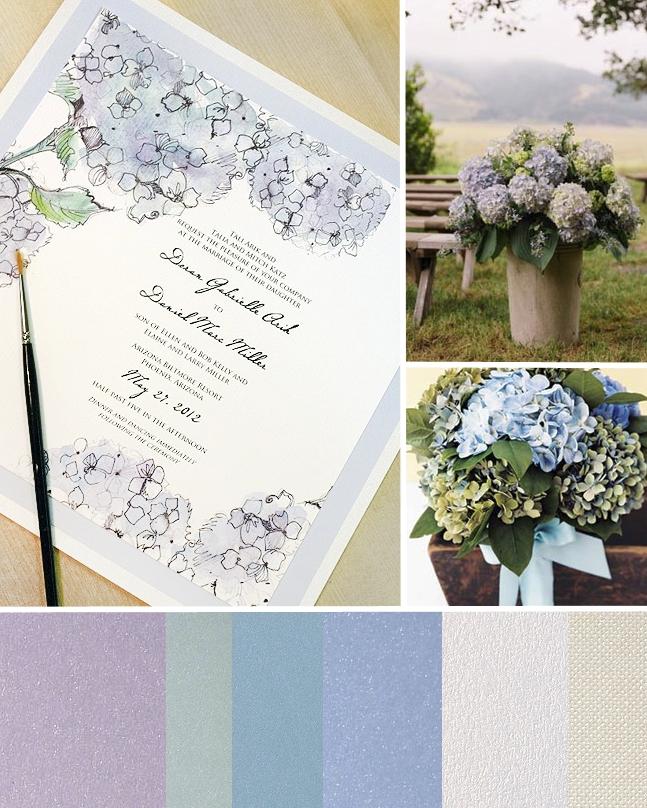Hydrangea Aisle Blue Watercolor Wedding Invitation