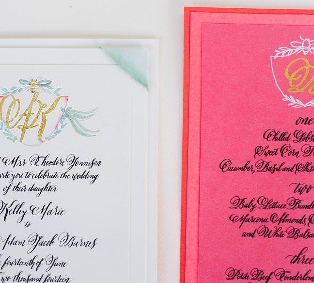 watercolor monogram wedding invitation