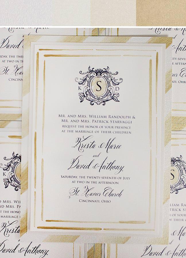 Gold Stripe Wedding Invitation