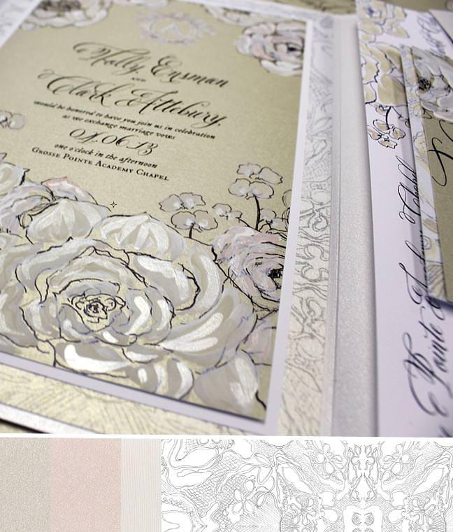 White Rose and Calligraphy Wedding Invitation