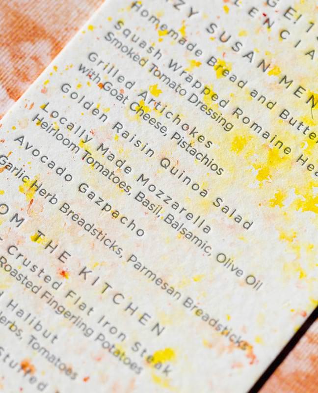 watercolor letterpress wedding menu