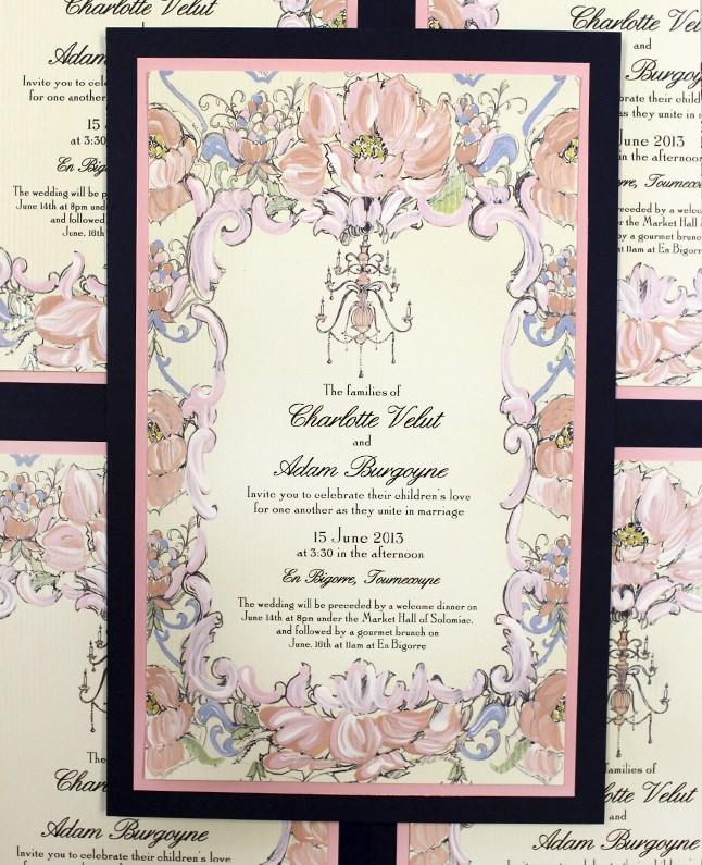 Pink Peony Baroque Wedding Invitations
