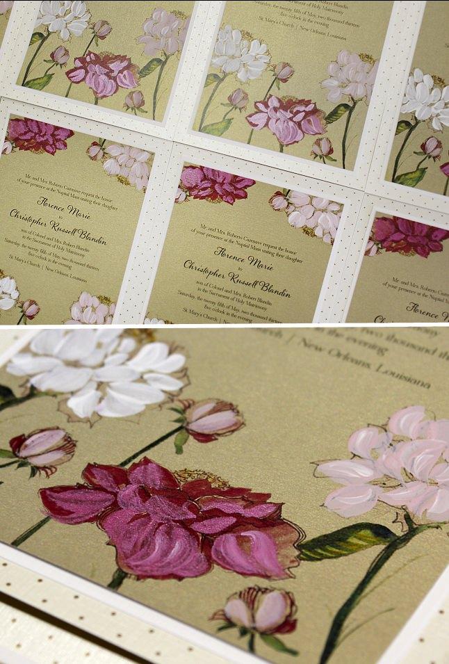 Hand Painted Peony Wedding Invitations