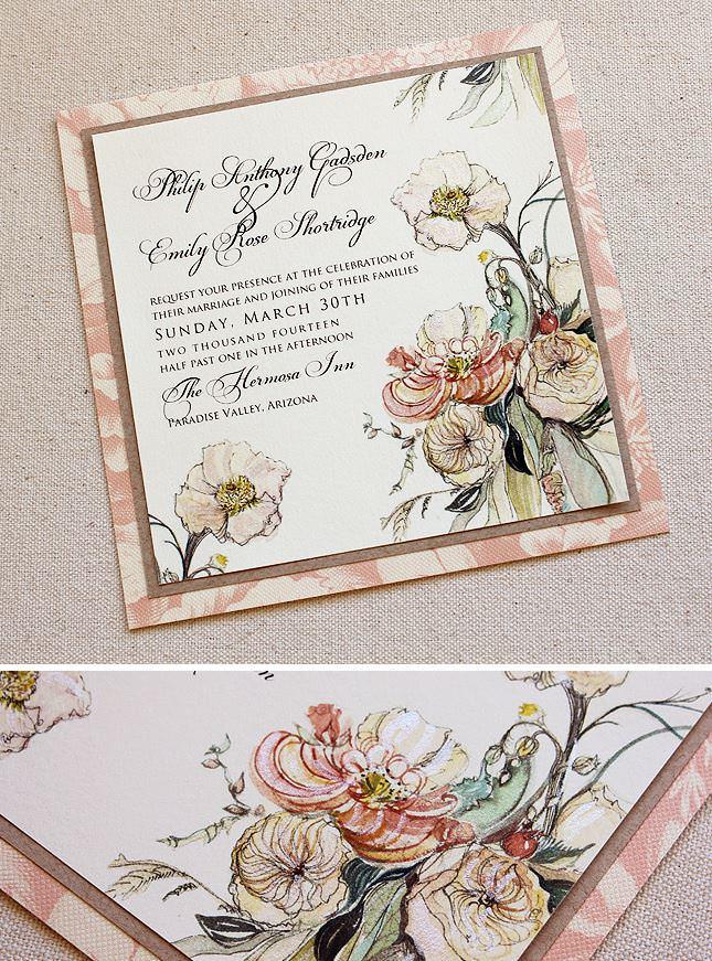 Austin Rose Bouquet Wedding  Invitations