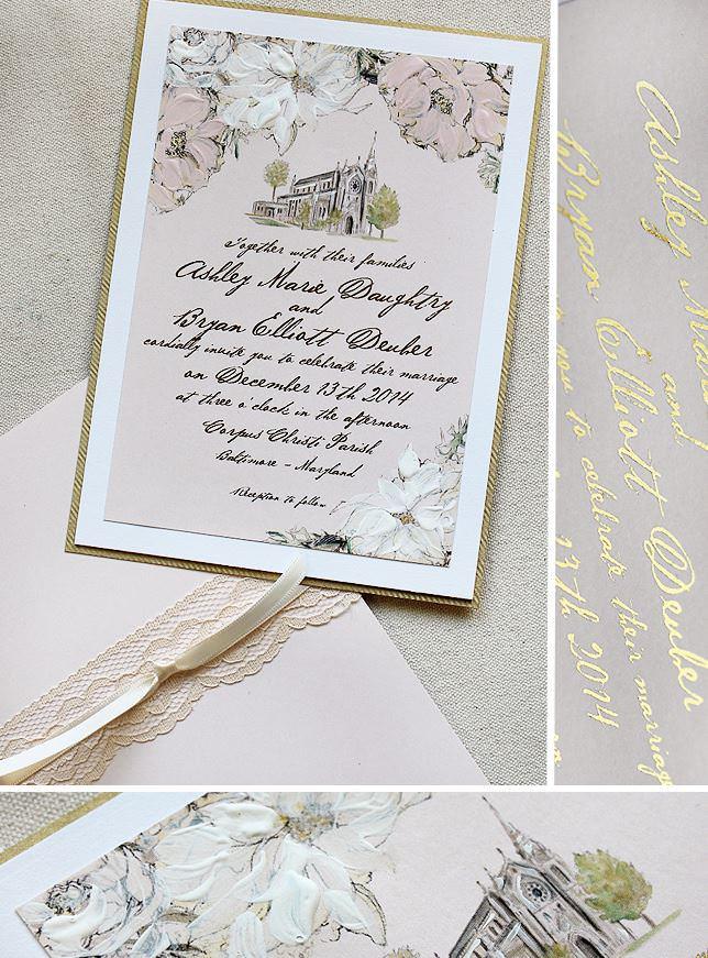 Custom Venue and Floral Wedding Invitation