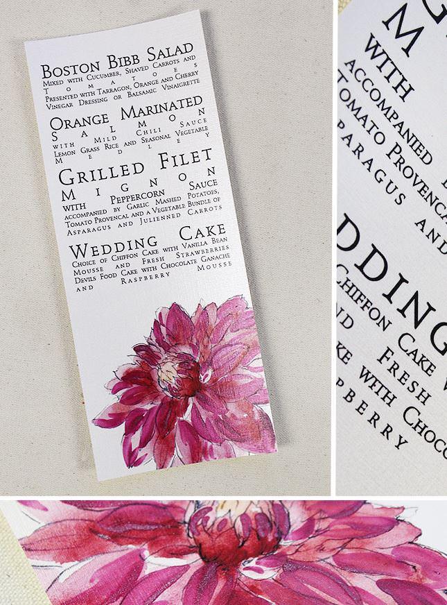Fuchsia Dahlia Wedding Menu