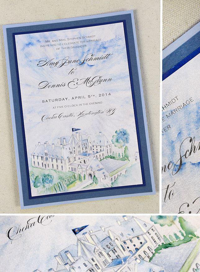 Watercolor Castle Wedding Invitations