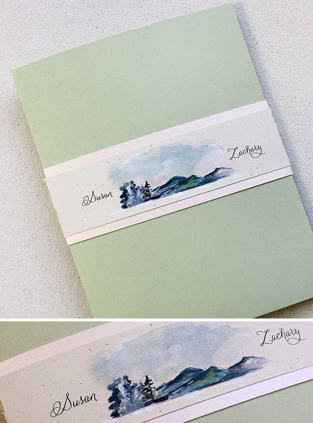 Custom Watercolor Landscape Wedding Invitation