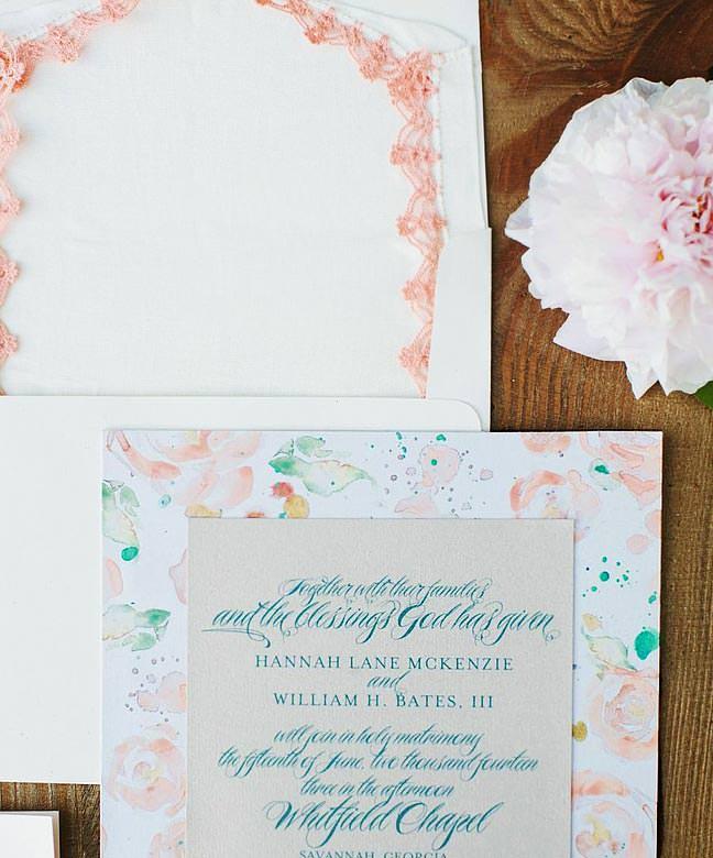 Watercolor Rose Wedding Invitation