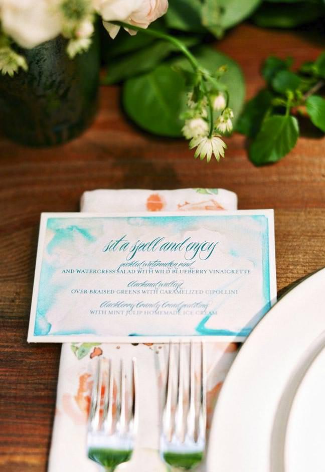Calligraphy and Watercolor Wedding Menu