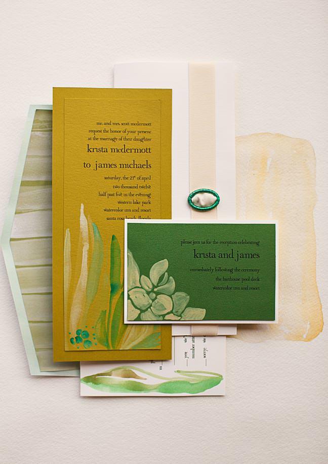 Watercolor Leaf Wedding Invitation