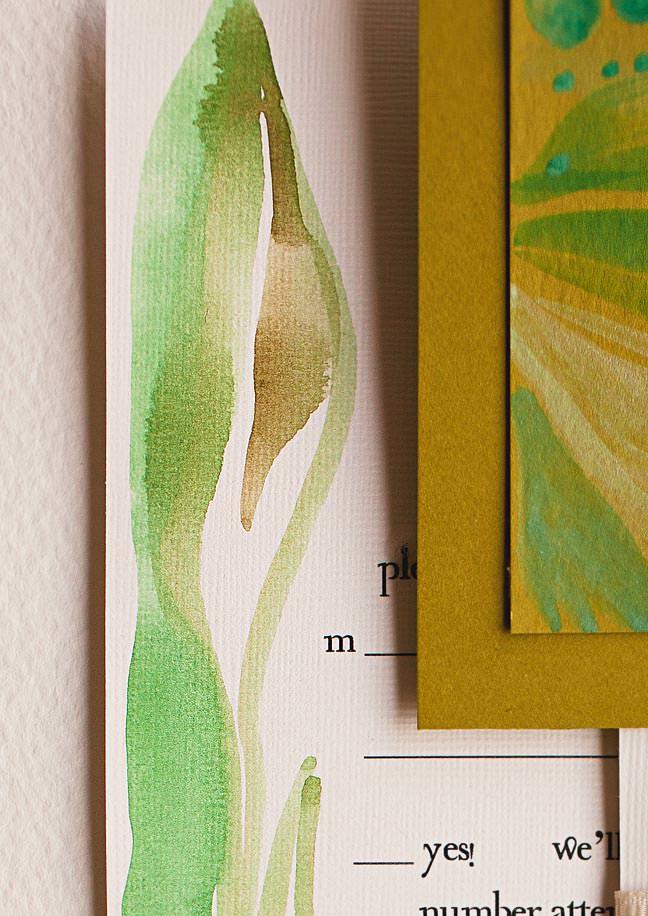 watercolor leaf wedding stationery