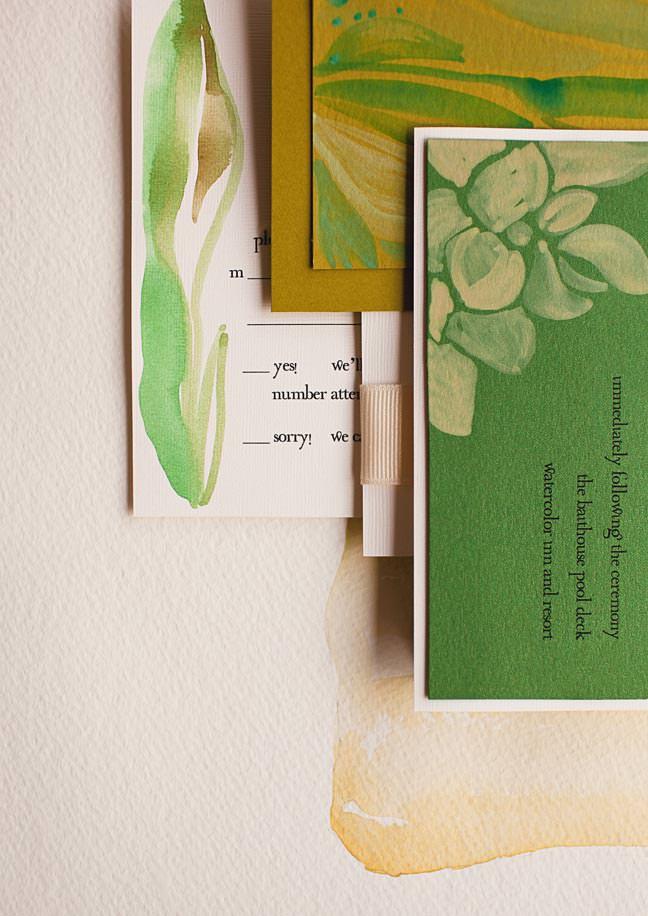 modern leaf wedding invitations