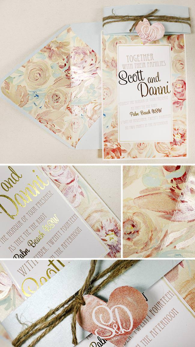 Romantic Peony Watercolor Wedding Invitations
