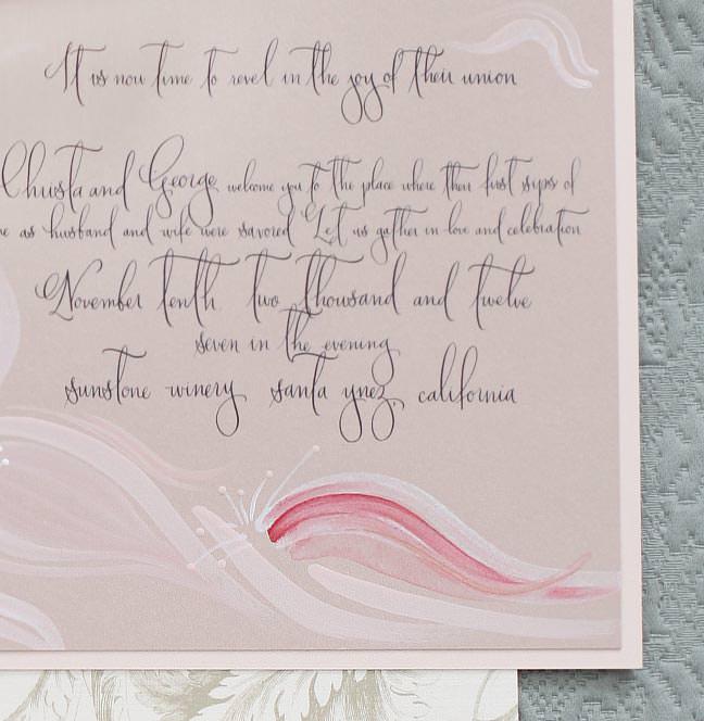 Hand Painted Peony Wedding Invitation