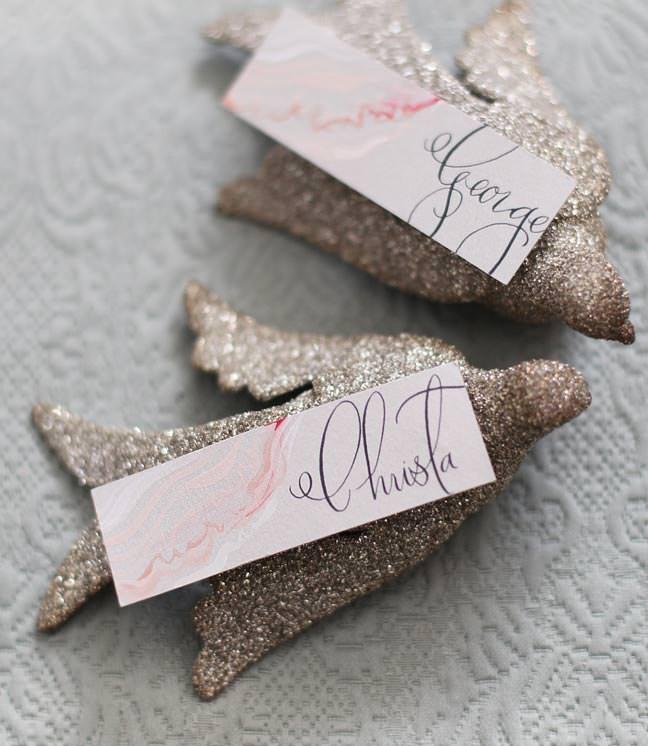 Glitter Bird Wedding Place Cards