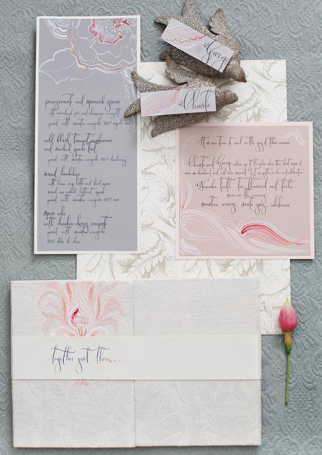 Blush and Gray Peony Wedding Invitation Suite
