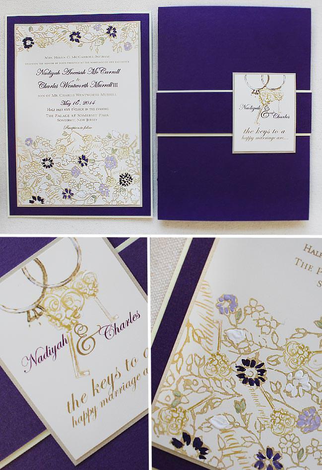 Vintage Key and Lace Wedding Invitations