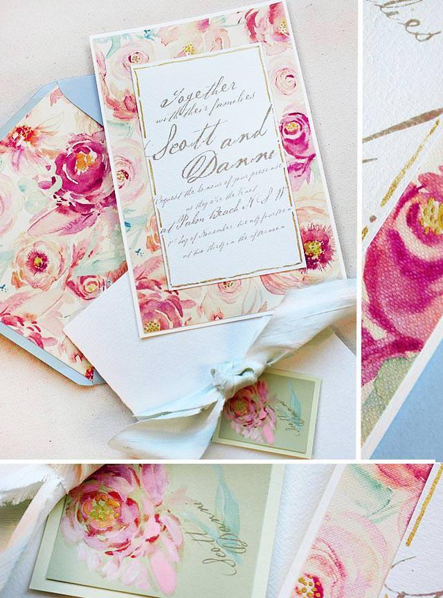 Rose and Peony Pattern Wedding Invitations
