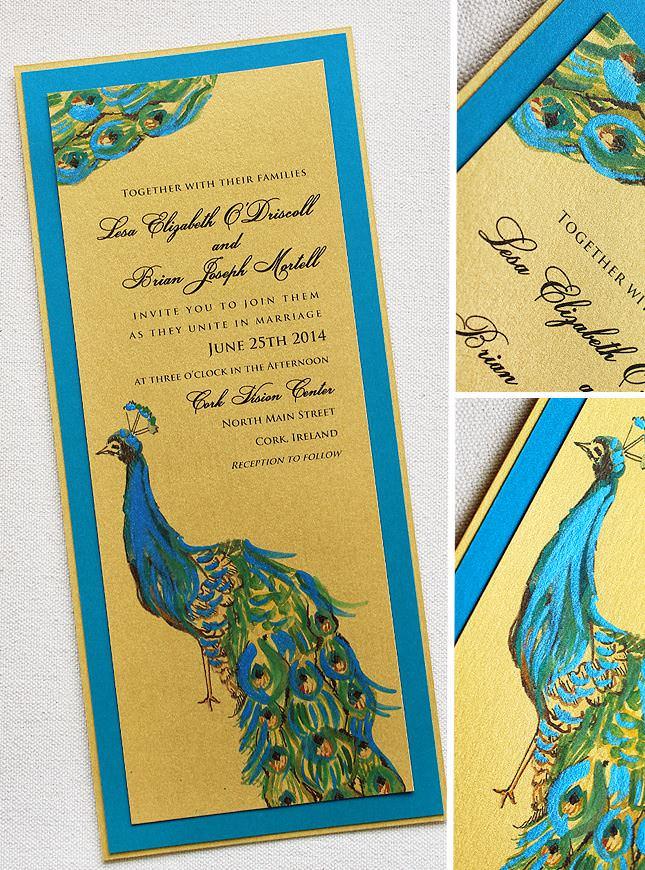 Painted Peacock Wedding Invitations