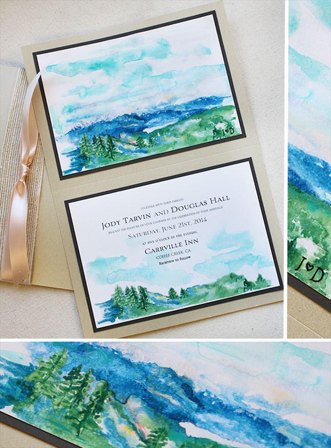 Modern Watercolor Landscape Wedding  Invitation