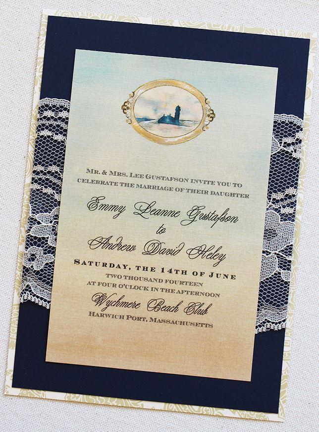 Watercolor Beach Wedding Invitations