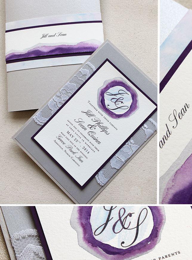 Watercolor Monogram Wedding Invitations